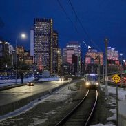 morning commute, transit station Memorial Dr. Calgary Alberta